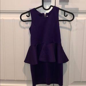 Girls purple sleeveless peplum dress, size 5